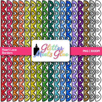 Heart Lace Border Clip Art   Dividers & Page Elements for Worksheets