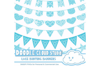 Lace Burlap Bunting Banners Cliparts, multiple lace texture flags, lace borders
