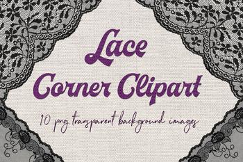 Lace Corner Clip Art - Black Borders