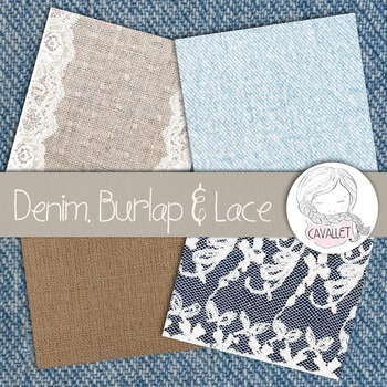 Lace, Denim and Burlap - Digital Papers and Textures