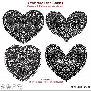 Lace Doilies, Heart ClipArt, Valentine ClipArt, Digital Stamps