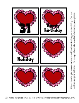 Lace Heart Valentine themed Calendar Cover-Ups