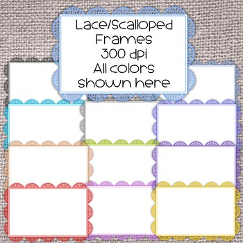 Lace/Scalloped Rectangular Frames - Rectangular - 300 dpi