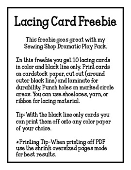 Lacing Card Freebie