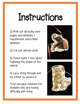 Lacing Cards: Asian Animals, Fine Motor