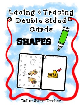 Lacing & Tracing Cards - 2 Sided  23 Shapes  Preschool Fine Motor - Thanksgiving