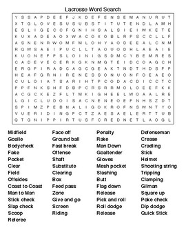 Lacrosse Crossword & Word Search Puzzle with KEYS