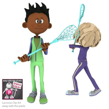 Lacrosse Players and Coach Sport Clip Art for PE
