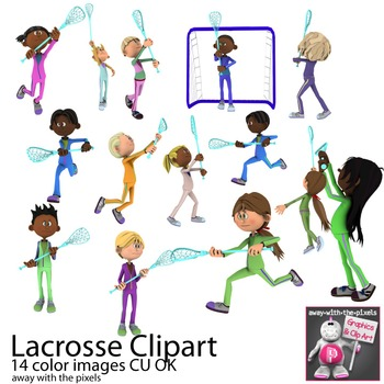 Kids Playing Lacrosse Sport Clip Art for PE