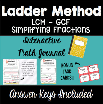 Ladder Method Interactive Math Journal with Task Cards