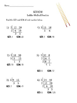 Ladder Method for GCF/LCM