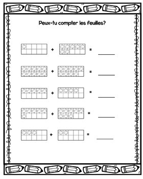 L'addition d'automne à 20 {Autumn French Addition Pages)