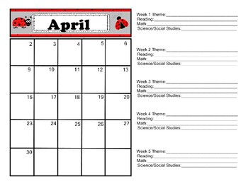 Lady Bug Calendar 2017-2018 Communication Folder