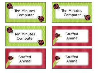 Ladybug Classroom Management Positive Reward Tickets Editable