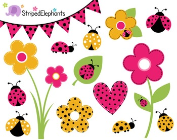 Lady Bug Clip Art - Pink and Yellow