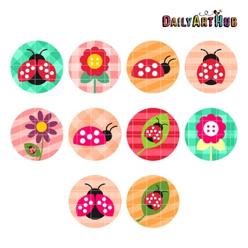Lady Bug Collage Sheet Clip Art - Great for Art Class Projects!