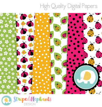 Ladybug Digital Papers Pink and Yellow