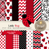 Lady Bug Digital Papers and clipart