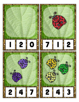 Lady Bug Glitter Clip Cards Math Center Counting 0 to 20 - Object  Count