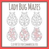 Lady Bug / Ladybug / Lady Beetle Mazes with Solutions Clip Art Commercial Use