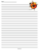Lady Bug Lined Paper