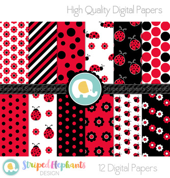 Lady Bug Digital Papers
