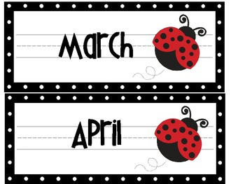 Lady Bug Picnic Calendar Toppers