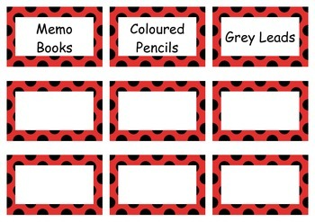 Lady Bug Theme - Name and Stationary Tags Pack