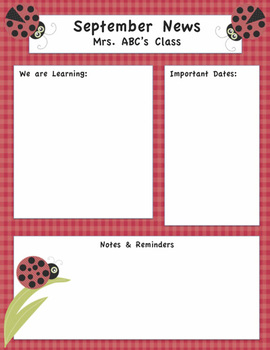 Ladybug Themed Editable Newsletter
