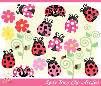 Lady Bugs Clipart Set
