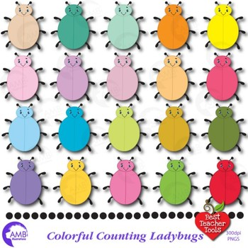 Lady Bug Clipart, Bug Clip Art, Counting Clipart AMB-949