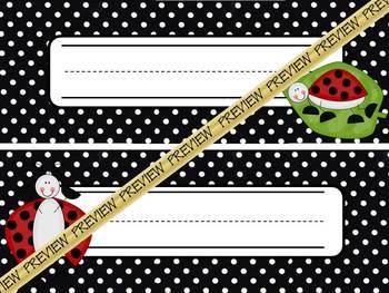 Nameplates: Lady Bugs on BW Polka Dots