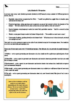 Macbeth Act 1 Scene 7 Worksheets & Teaching Resources | TpT