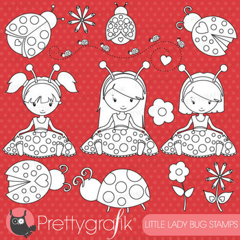 Lady bug girls stamps commercial use, vector graphics, images - DS618