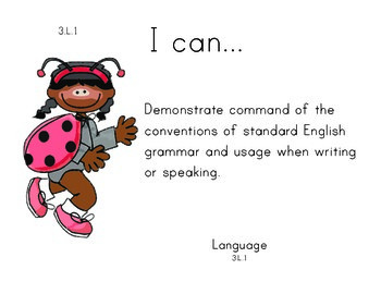 LadyBugKids 3rd grade English Common core standards posters