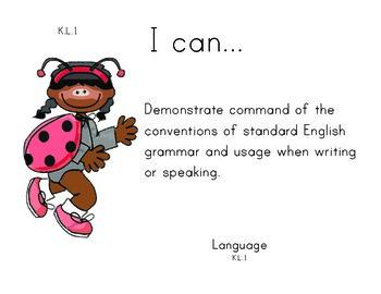 LadyBugKids Kindergarten English Common core standards posters