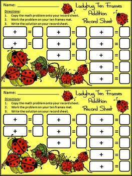 Ladybug Math Activities: Ladybug Ten Frames Spring-Summer Activity Packet