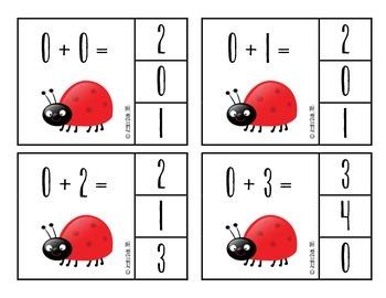 Ladybug Addition Flashcards--Facts 0-9