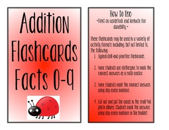 Ladybug Addition Flashcards--Facts 0-9