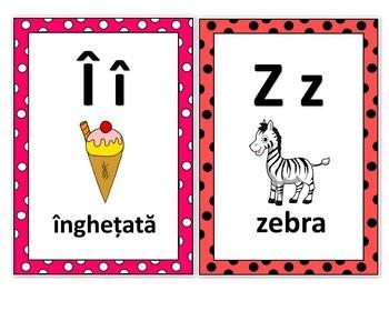 Ladybug Alphabet Posters in Romanian, Buburuza Postere cu Litere in Romana