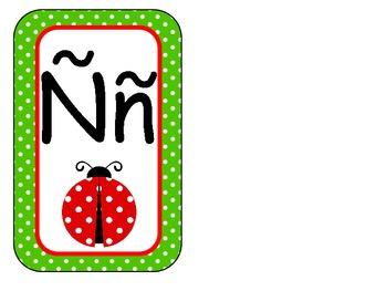 Ladybug Alphabet Wall Cards Green Polka Dot
