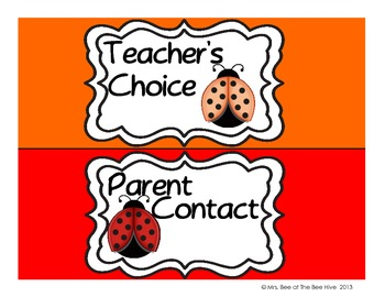 Ladybug Behavior Clip Chart - Solid Backgrounds