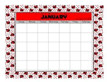 Ladybug 12 Month Blank Calendars