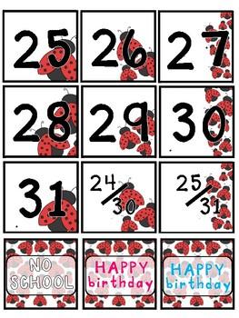 Ladybug Calendar Numbers