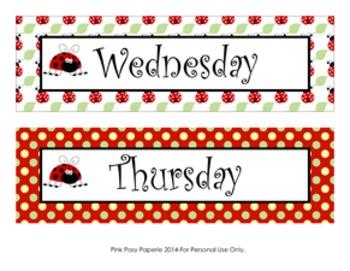 Ladybug Calendar Set - Months - Days - Numbers