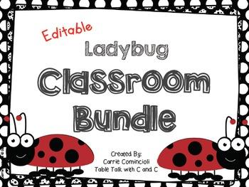 Ladybug Classroom Decor Bundle {Editable}