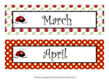 Ladybug Classroom Decor Monthly Calendar Headers