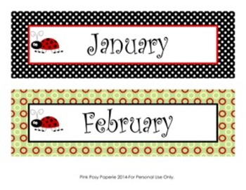 Ladybug Classroom Decor Monthly Calendar Headers