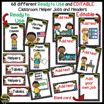 Classroom Helper Jobs (EDITABLE) ~ Ladybug Theme
