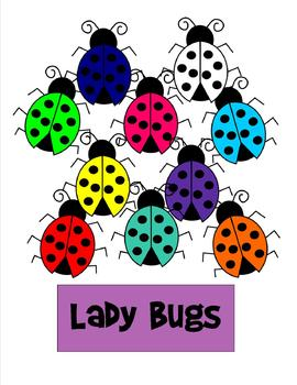 Ladybug Clip Art - 10 pieces - black line included